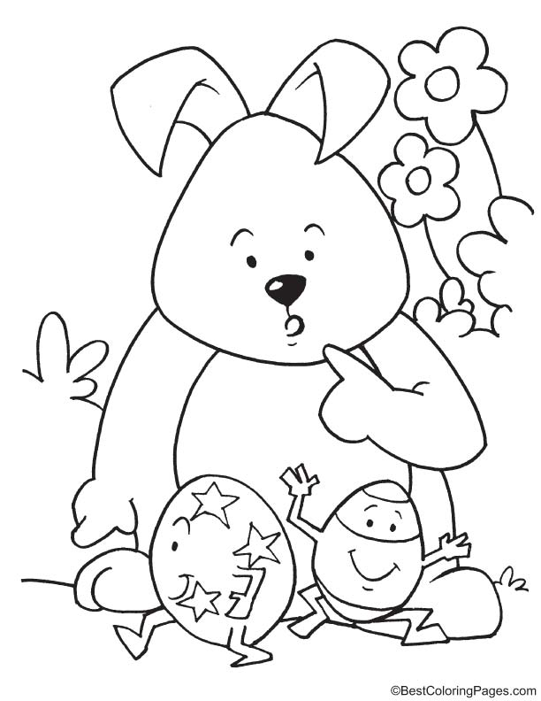 Easter egg dancing coloring page