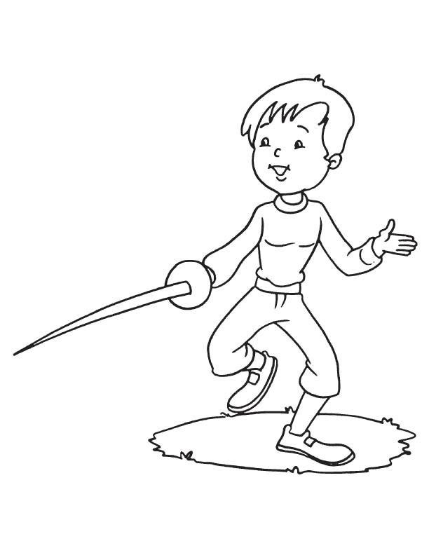 Fencing practice coloring page