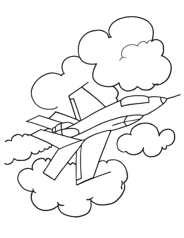 Fighter aircraft coloring page