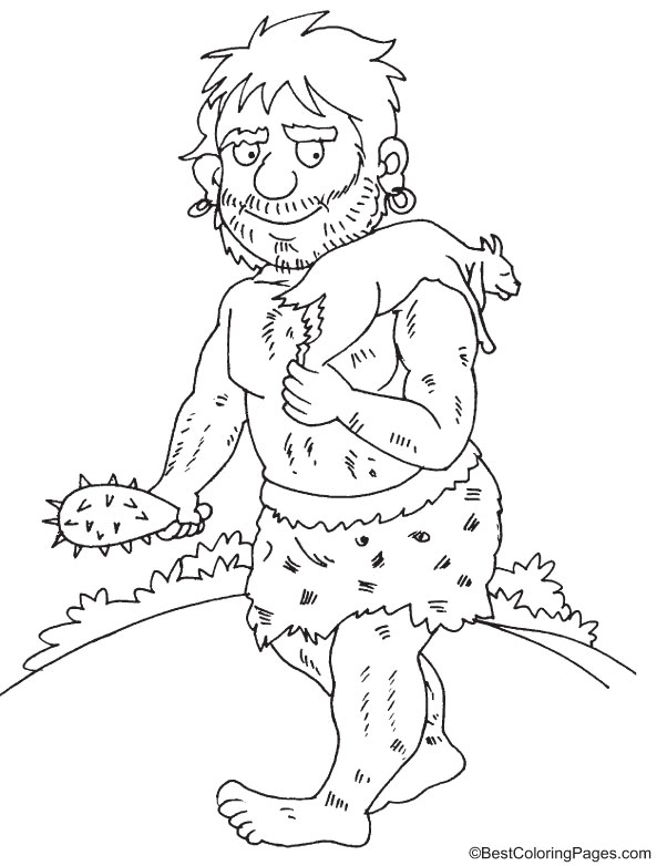 Giant hunts a goat coloring page