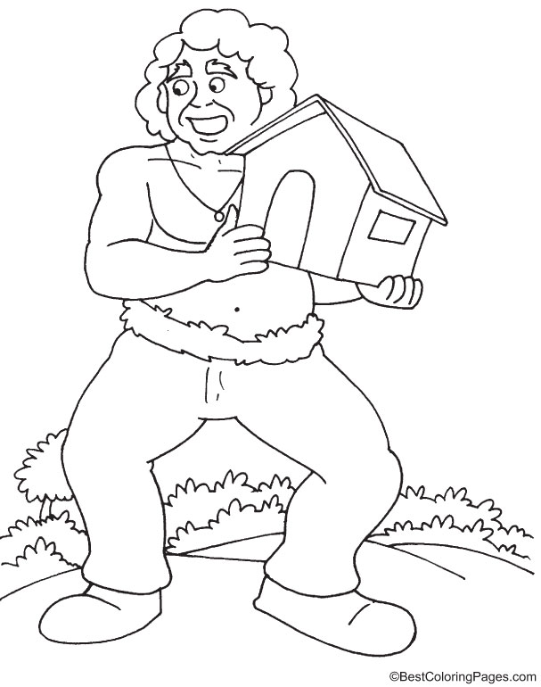 Giant shifting home coloring page