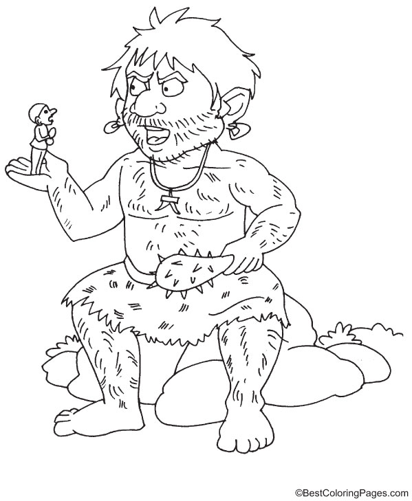 Giant talking to man coloring page