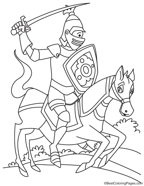 Helmeted Knight on horse coloring page