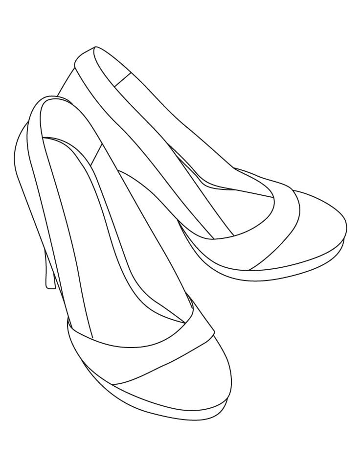 High heel sandals coloring pages