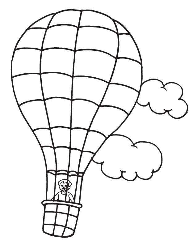hot air balloon in flight coloring page