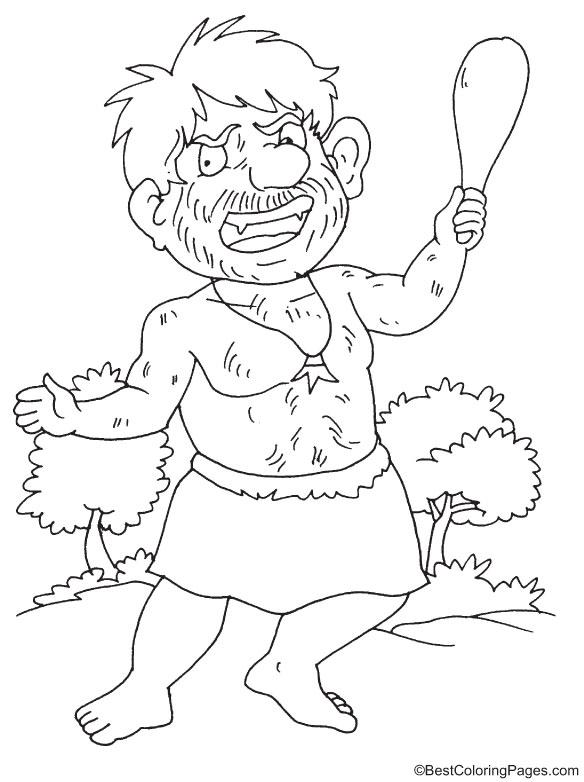 Kumbhakarna the giant coloring page