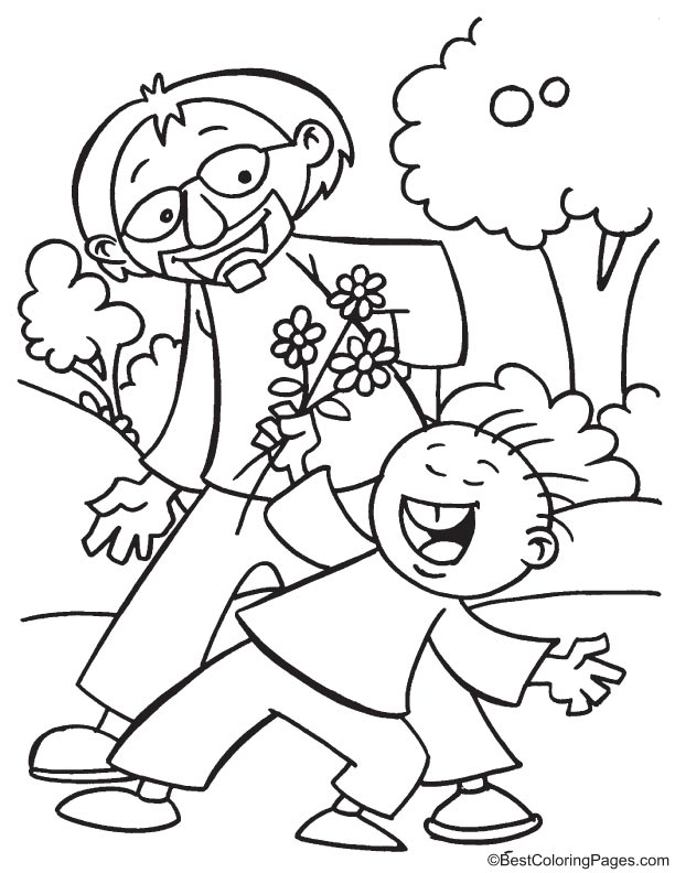 Making fun with father coloring page