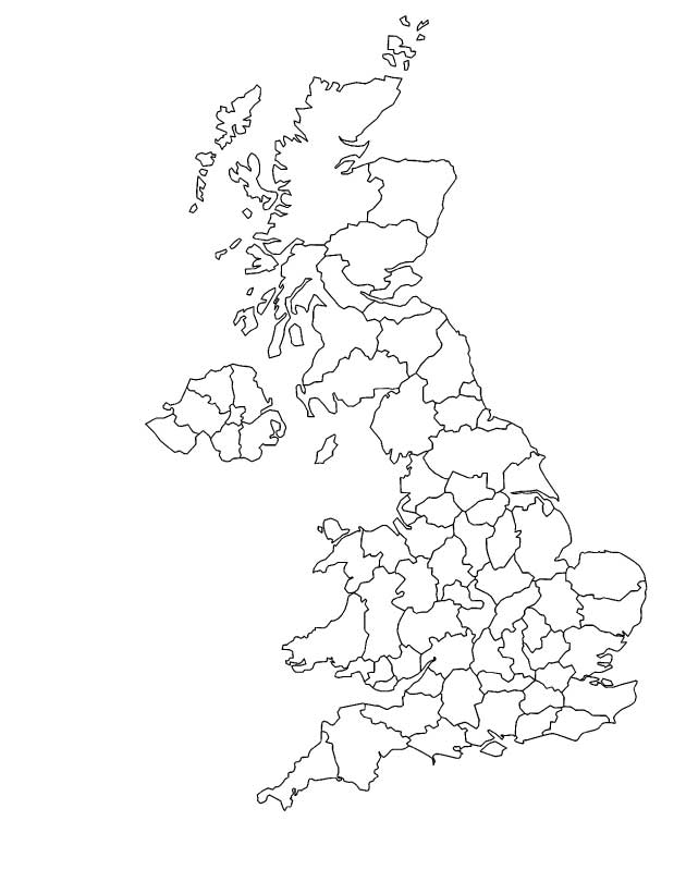 Outline map of United Kingdom coloring page