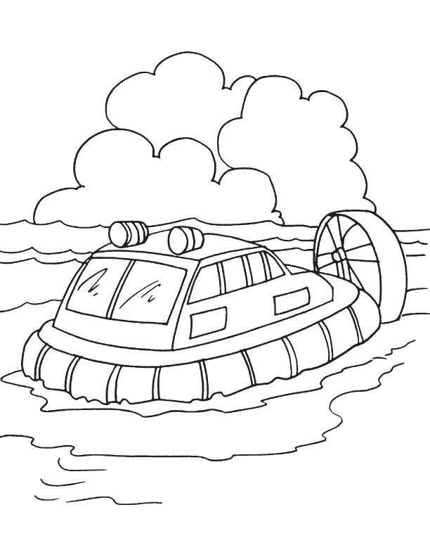 passenger carrying hovercraft coloring page