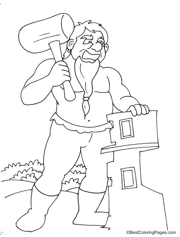 Paul Bunyan giant coloring page