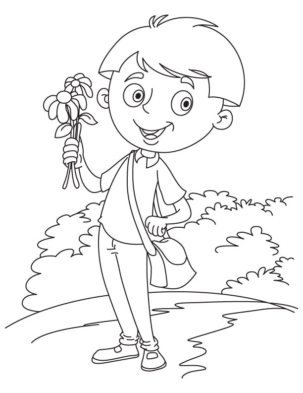 Postman delivers flowers coloring page