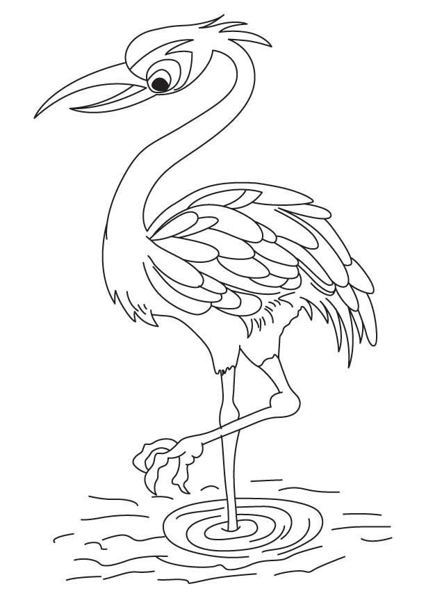 Red Crowned Crane Coloring Page
