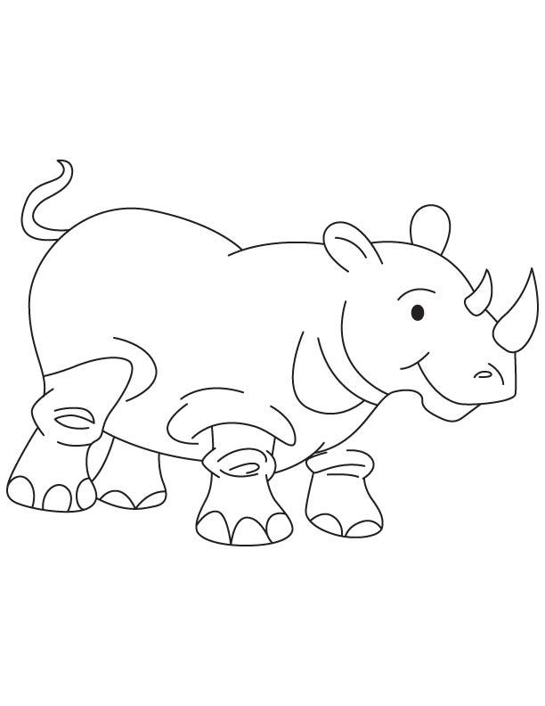 Rhinoceros calf coloring page