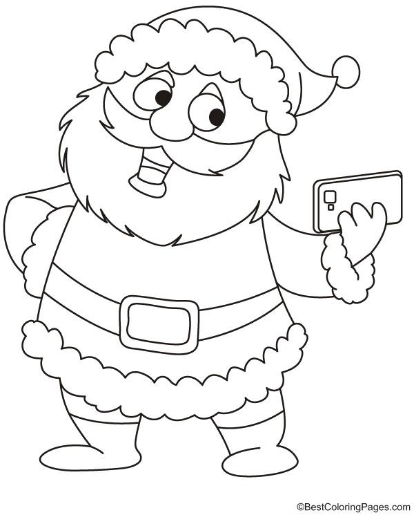 Santa taking selfie coloring page