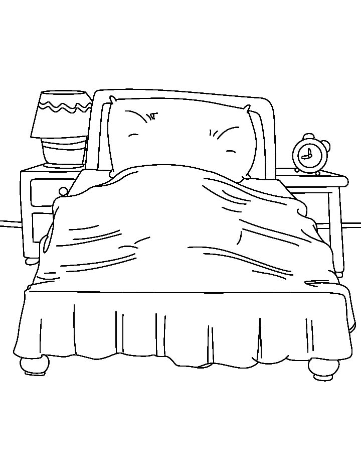 single bed with lamp shade coloring page download free single