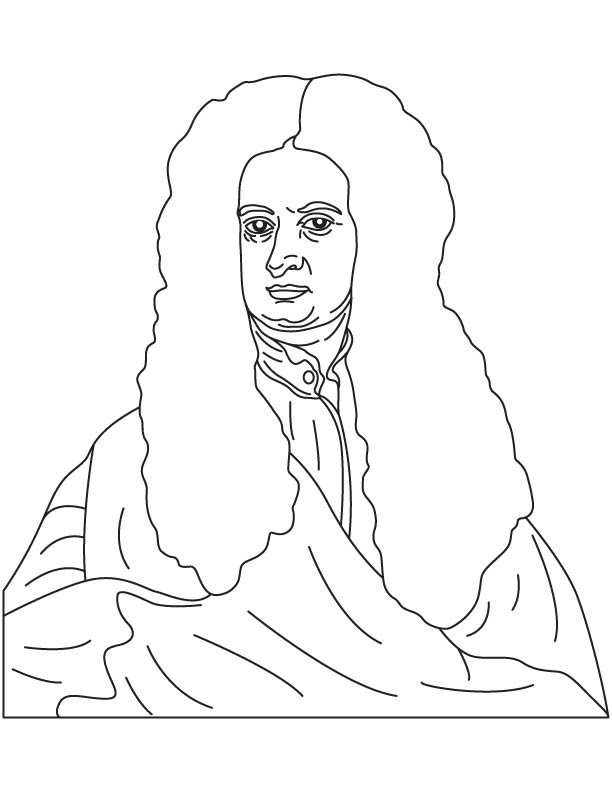 Sir Isaac Newton coloring page