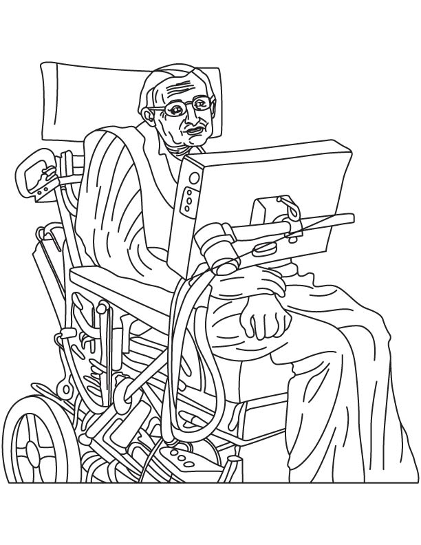 Stephen Hawking coloring page