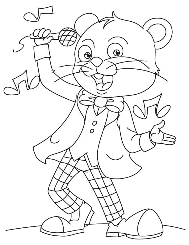 Tom a singer coloring page