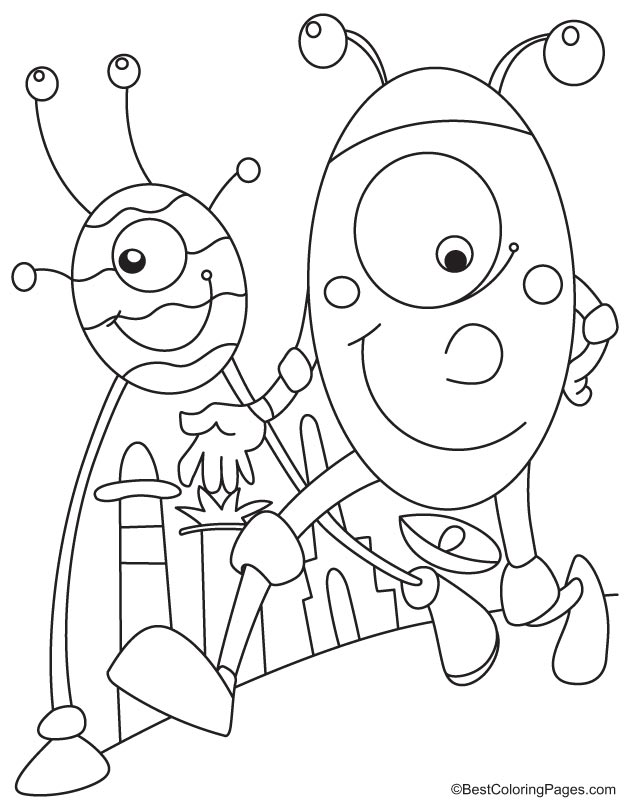 Two aliens walking coloring page