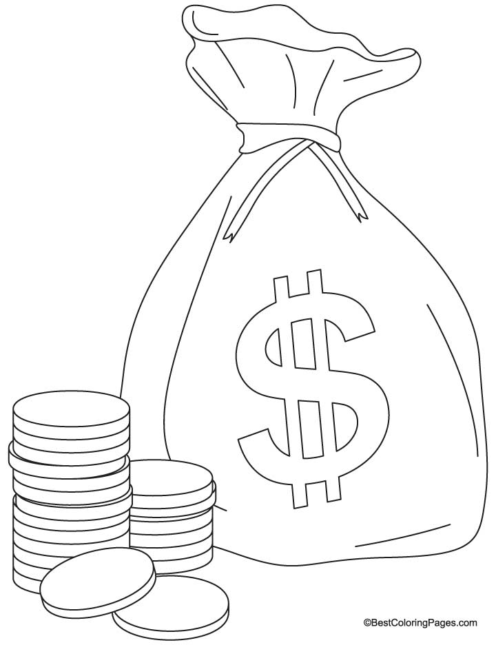 a bag of coins coloring pages