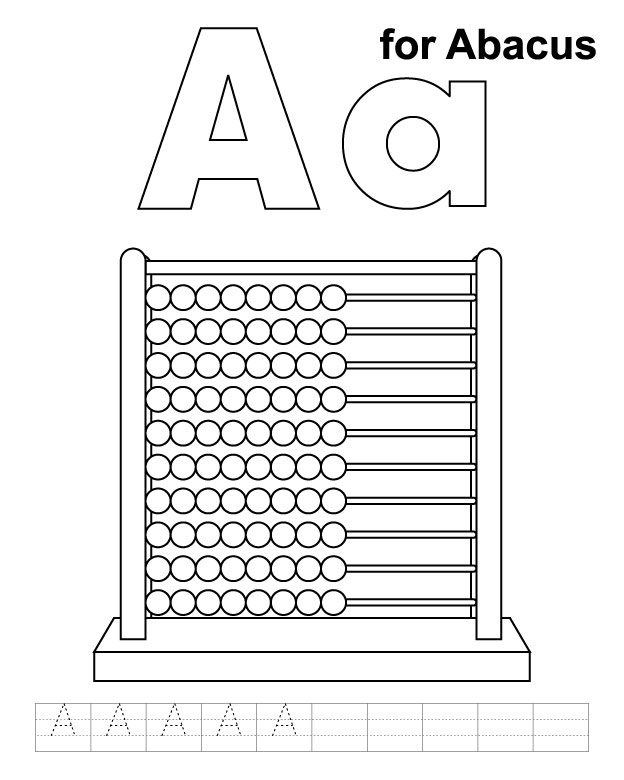 A for abacus coloring page with handwriting practice