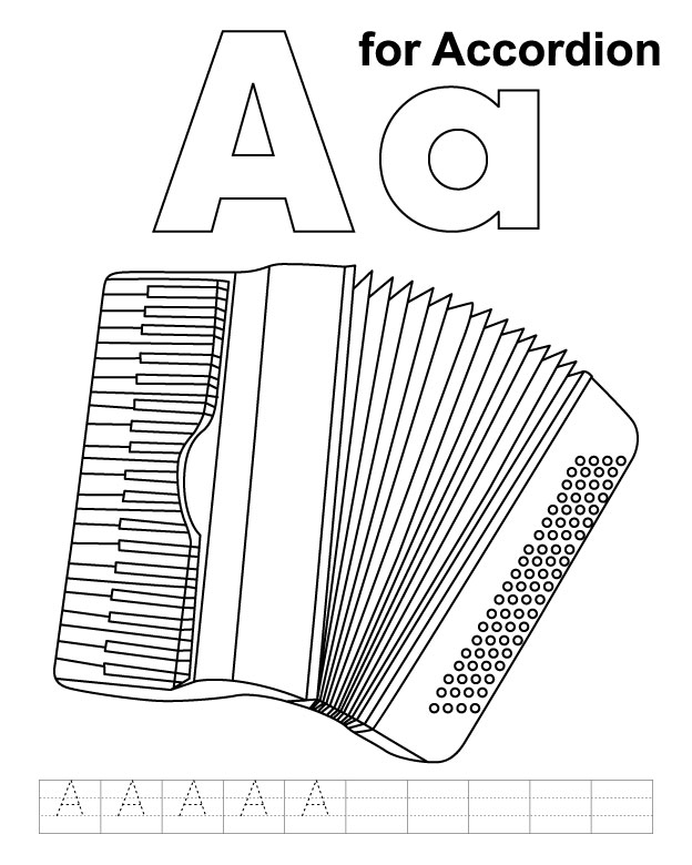A for accordion coloring page with handwriting practice