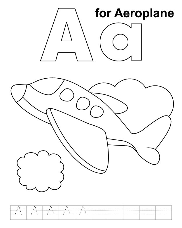 A For Aeroplane Coloring Page With Handwriting Practice