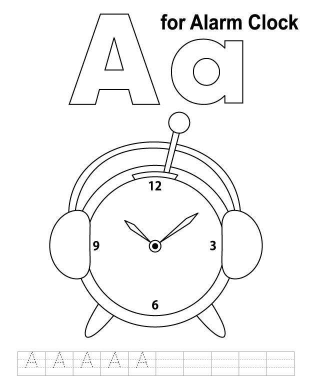 A for alarm clock coloring page with handwriting practice