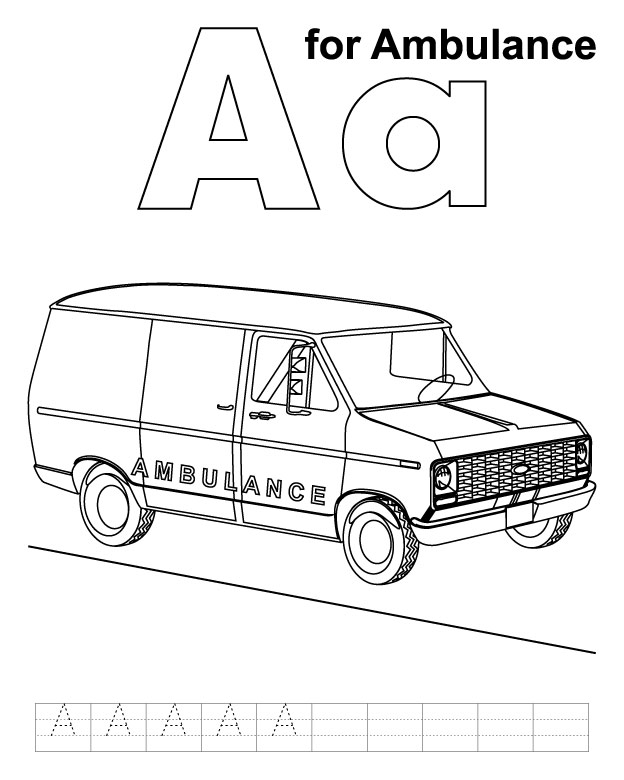 a for ambulance coloring page with handwriting practice - Ambulance Coloring Pages Print