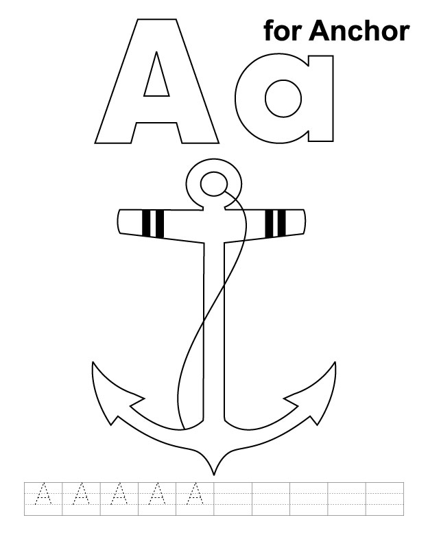 a for anchor coloring page with handwriting practice