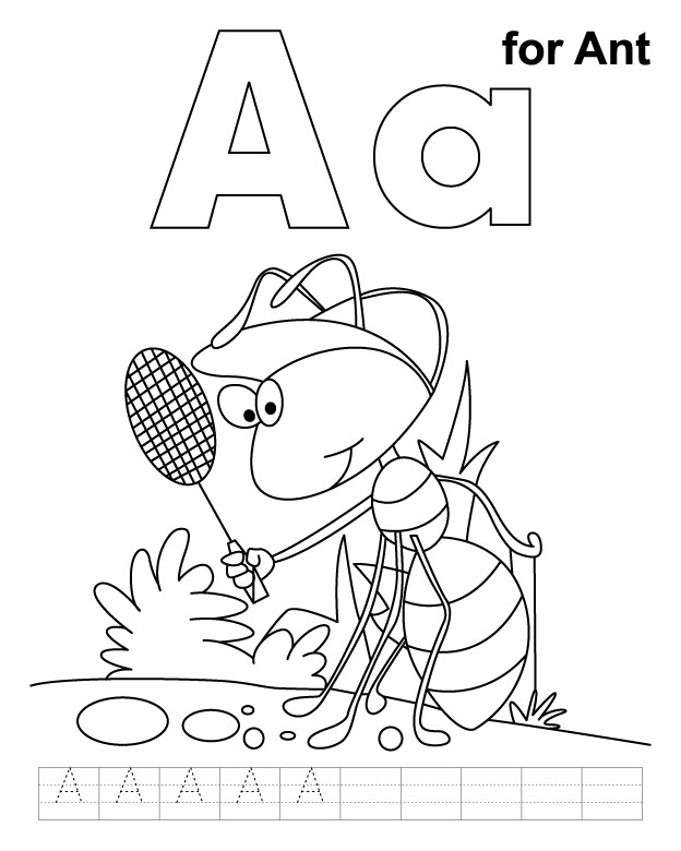 A for ant coloring page with handwriting practice Download Free