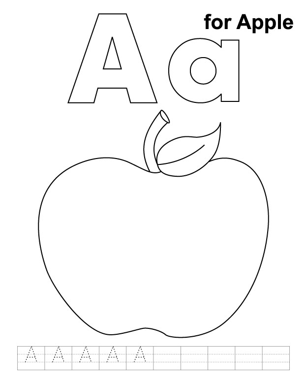 A for apple coloring page with handwriting practice | Download ...
