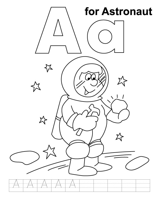 A For Astronaut Coloring Page With Handwriting Practice Download