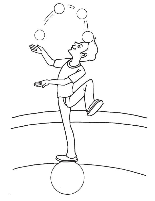 Acrobat juggler coloring page