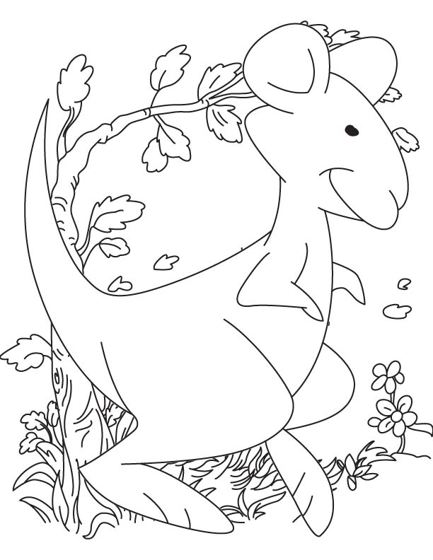 Active and happy joey coloring page