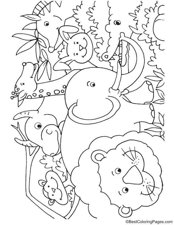 African jungle animals coloring page