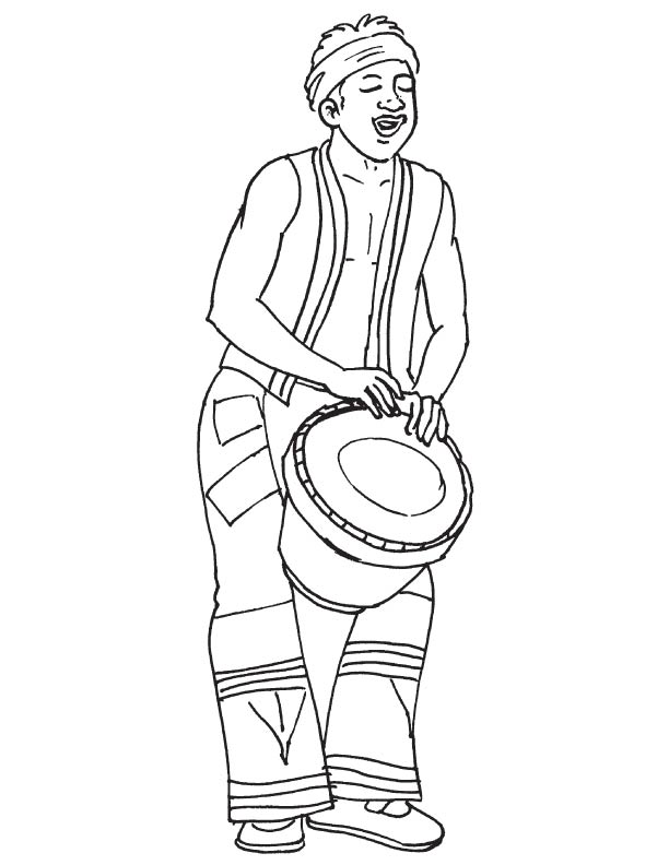 African musician playing drum coloring