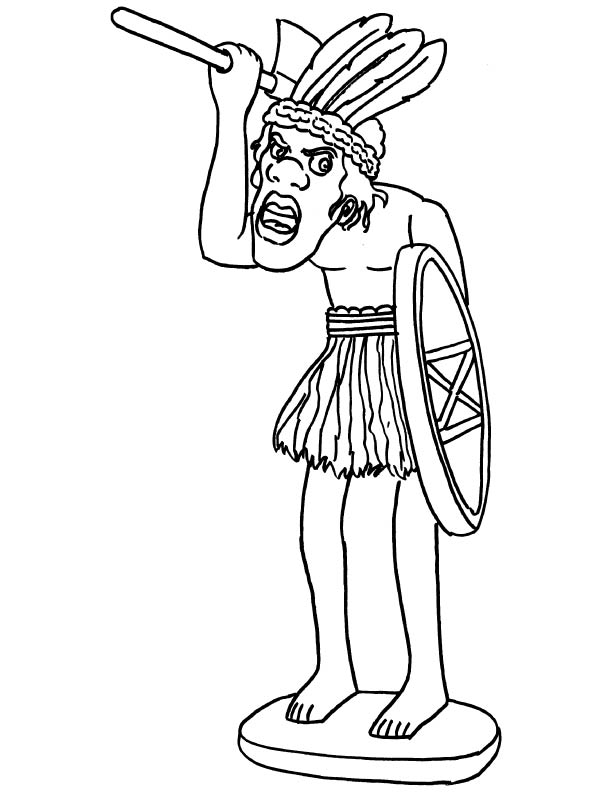 African sculpture coloring page
