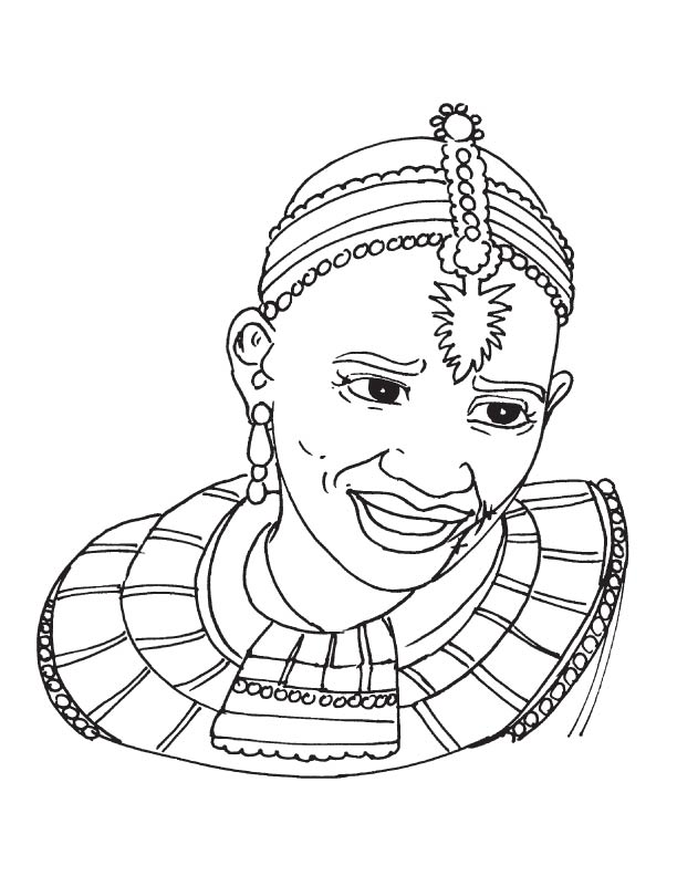 African tribal woman coloring page