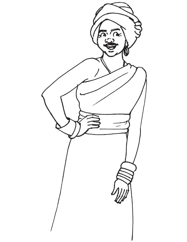 Coloring page - African children | 792x612