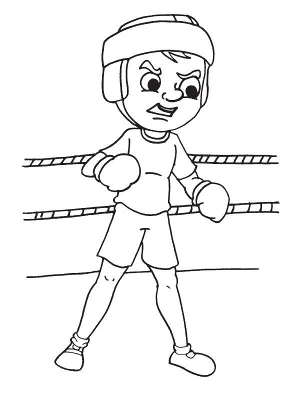 Aggressive boxer coloring page