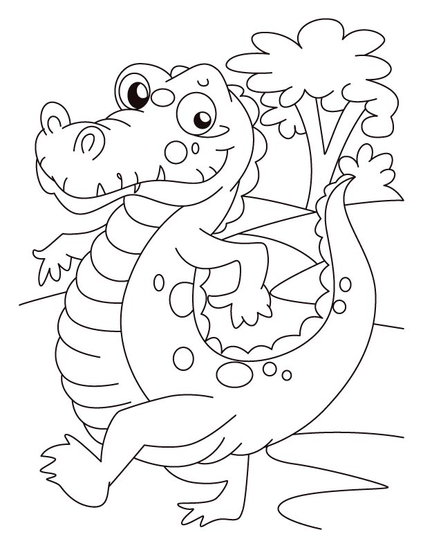 Alligator on evening walk coloring pages  Download Free Alligator