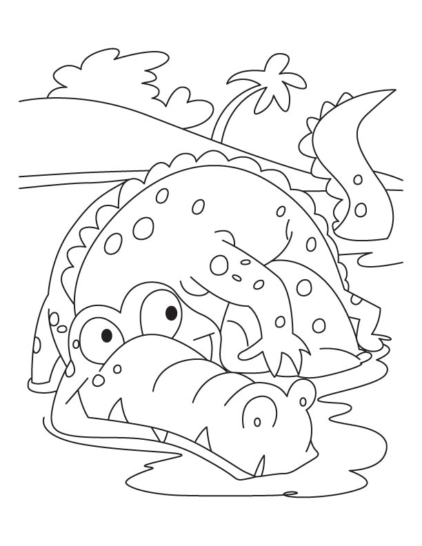 frightened alligator coloring pages - Alligator Coloring Page