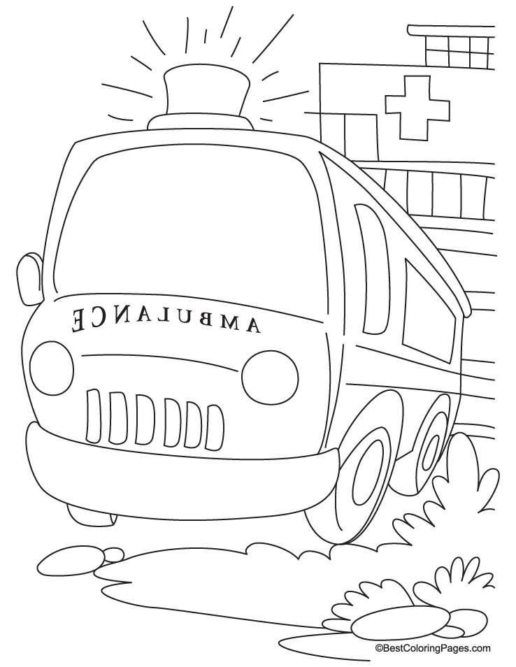 a ready ambulance in front of hospital coloring page - Ambulance Coloring Pages Kids