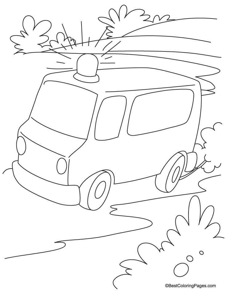 Emergency ambulance van running on the road coloring page