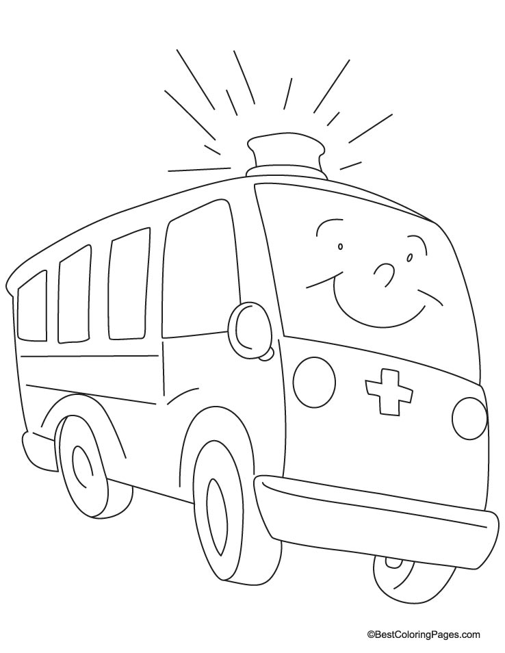 a fast moving ambulance coloring page - Ambulance Coloring Pages Print