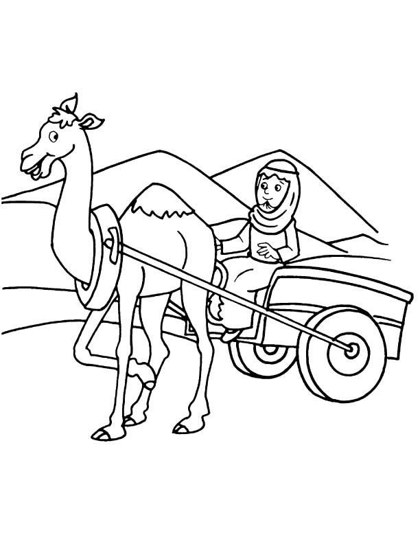 An Arabian On Camel Cart Coloring Page
