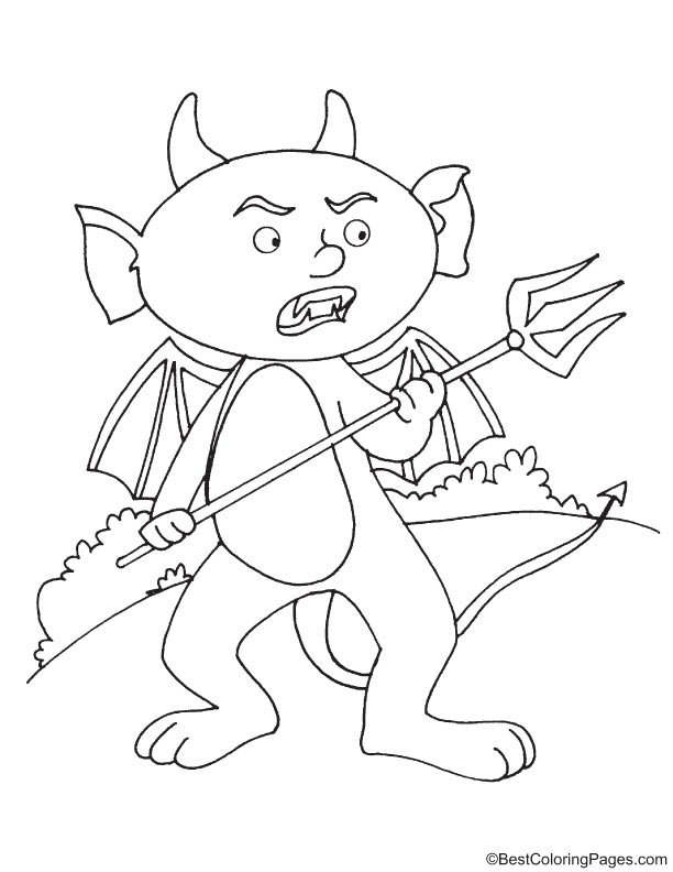 Angry devil with trident coloring page