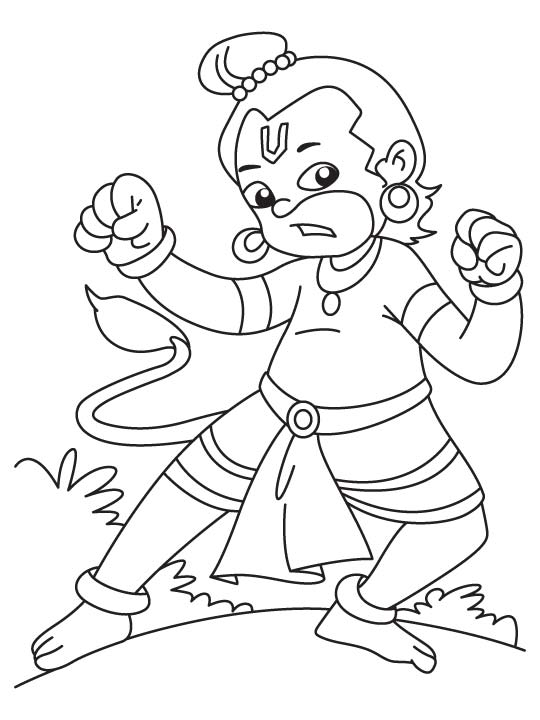 Hanuman Coloring Sheets  Coloring Pages For Kids and All Ages