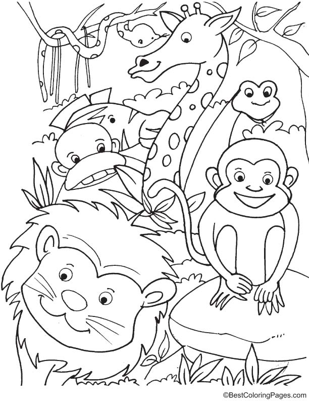 Animals in forest coloring page